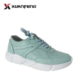 Fashion Comfortable Women′s Genuine Leather Sneaker Shoes